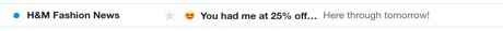 H&M Subject line example