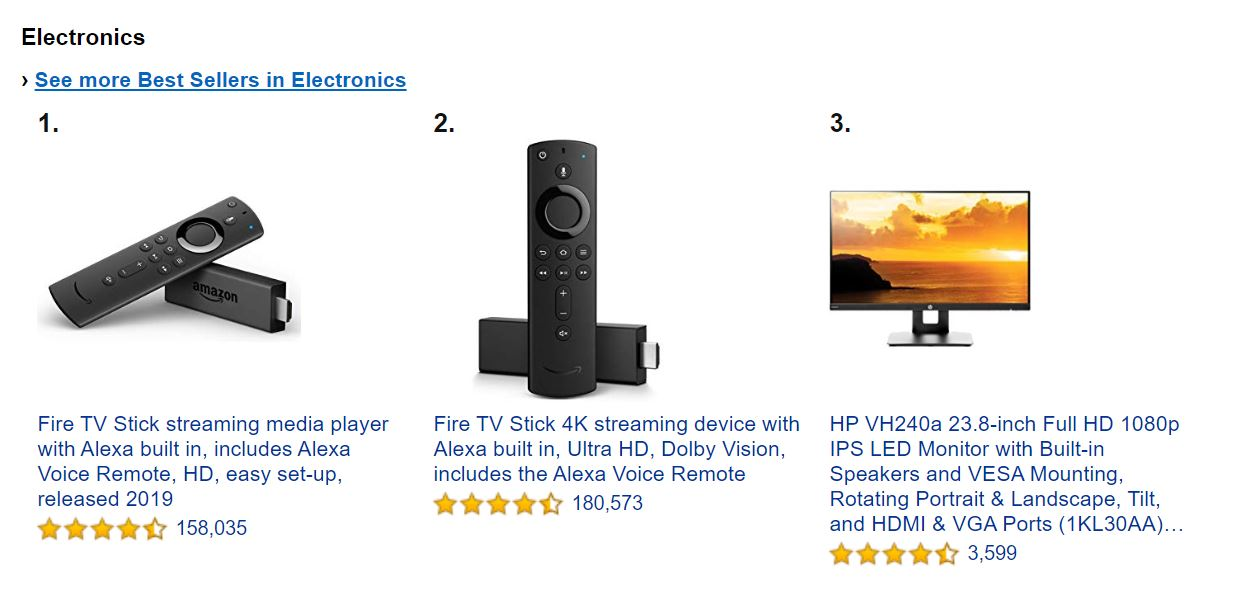 Amazon has a bestselling page