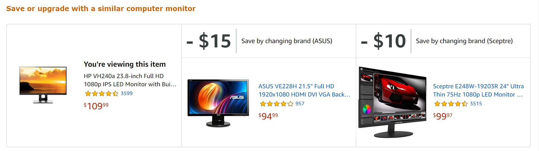 Amazon's product recommendations: save or upgrade with a similar product