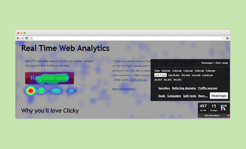 Clicky heat map in real time