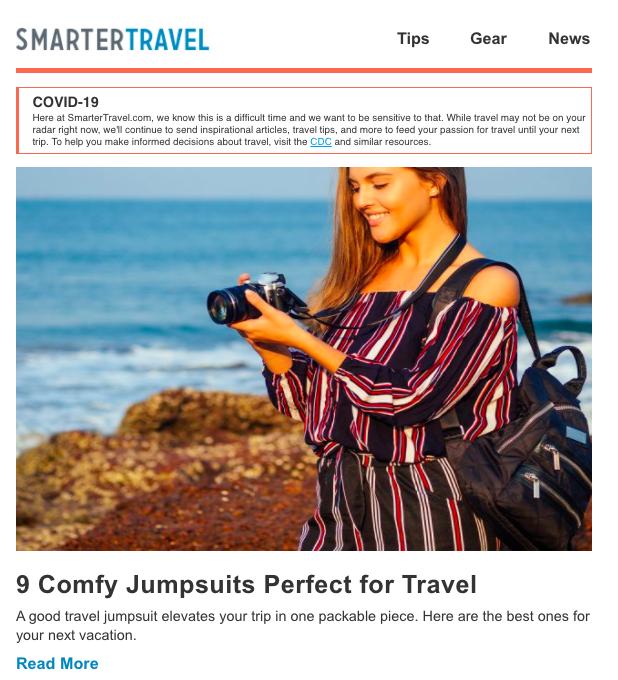 Smarter Travel newsletter example